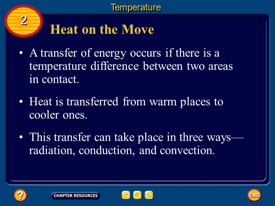 Temperature 2. Heat on the Move. A transfer of energy occurs if there is a temperature difference between two areas in contact.