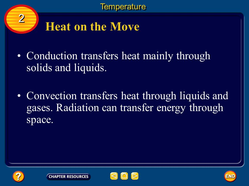Temperature 2. Heat on the Move. Conduction transfers heat mainly through solids and liquids.
