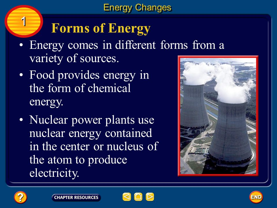 Energy Changes 1. Forms of Energy. Energy comes in different forms from a variety of sources. Food provides energy in the form of chemical energy.