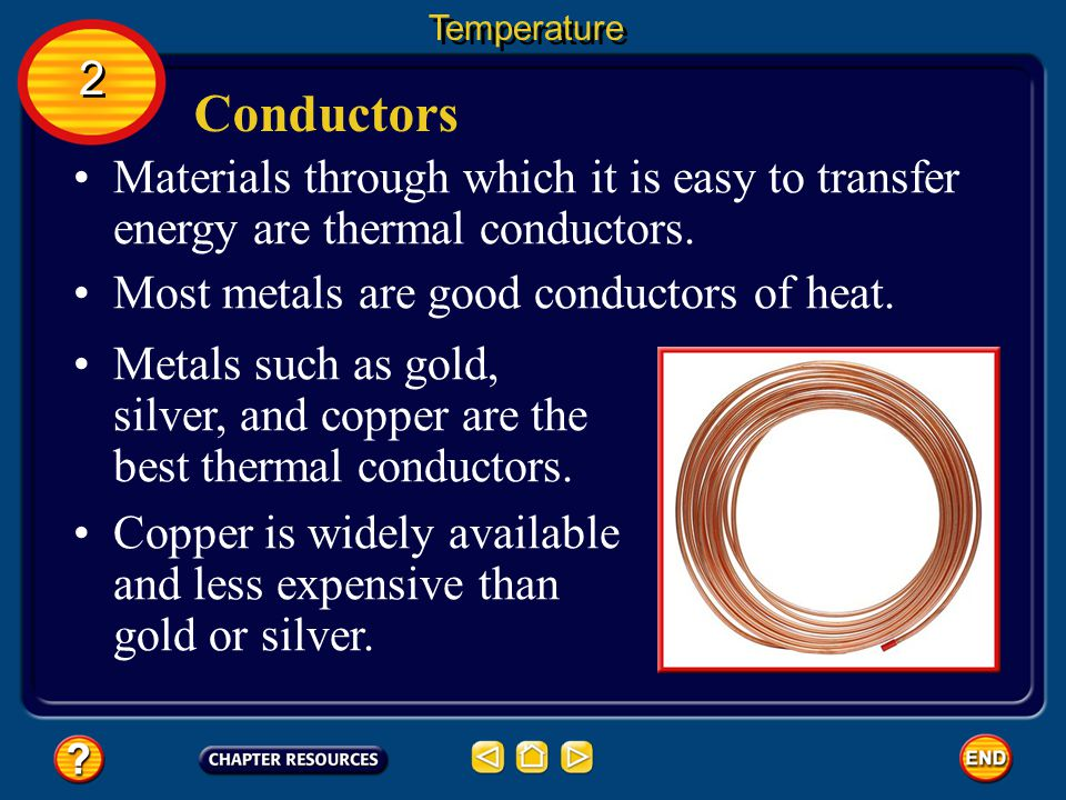 Temperature 2. Conductors. Materials through which it is easy to transfer energy are thermal conductors.