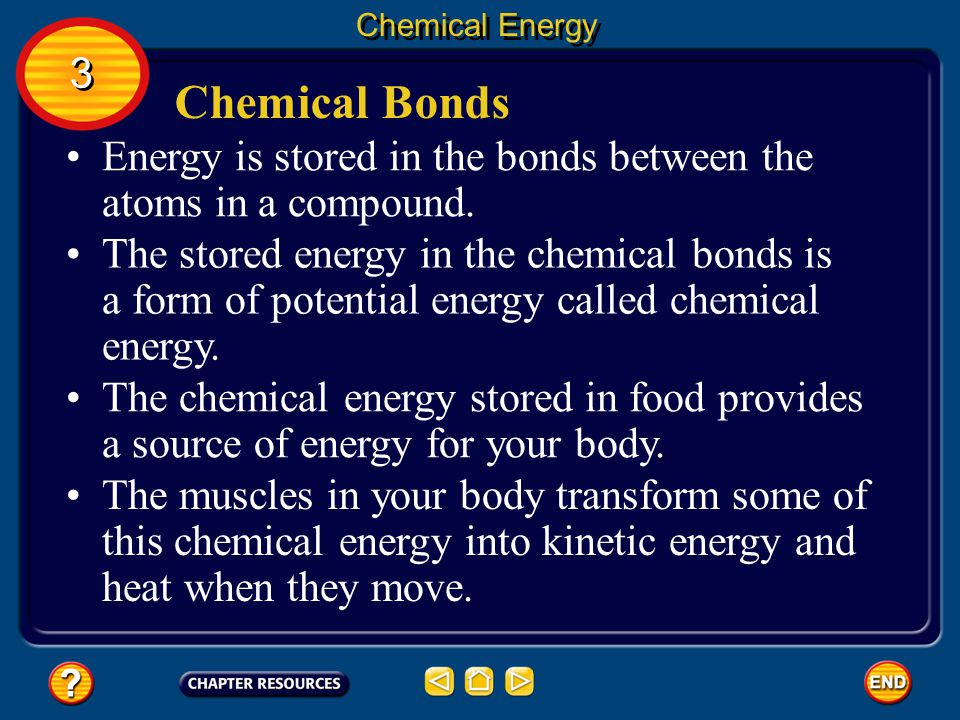 Chemical Energy 3. Chemical Bonds. Energy is stored in the bonds between the atoms in a compound.