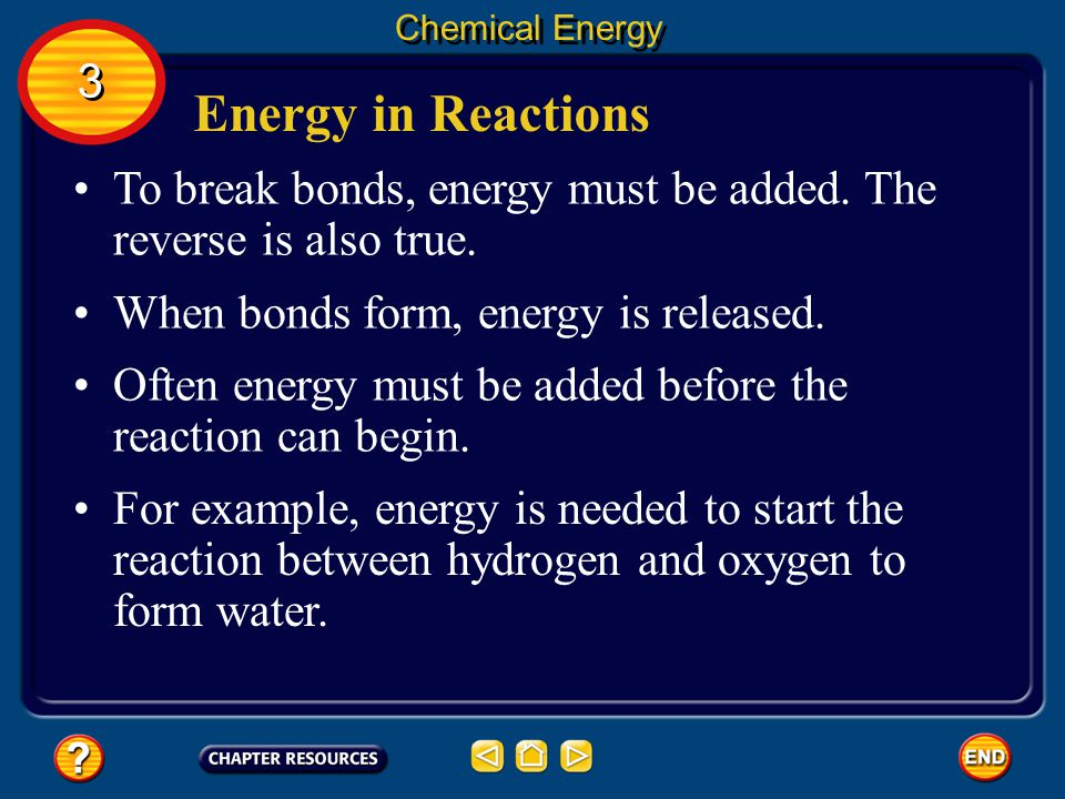 Chemical Energy 3. Energy in Reactions. To break bonds, energy must be added. The reverse is also true.