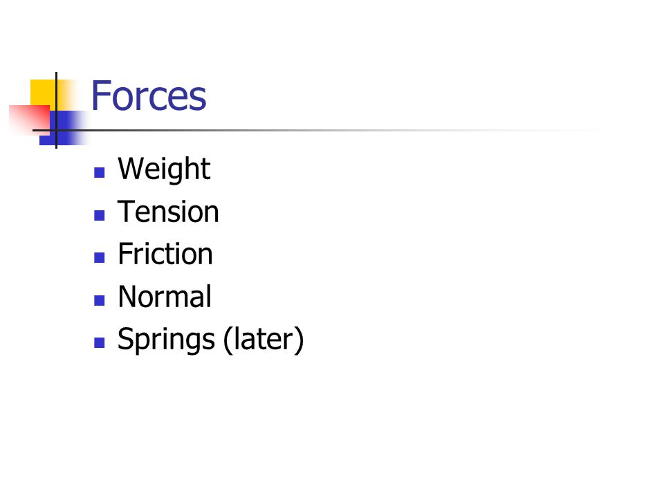 Forces Weight Tension Friction Normal Springs (later)