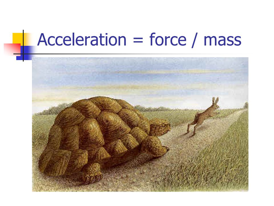 Acceleration = force / mass