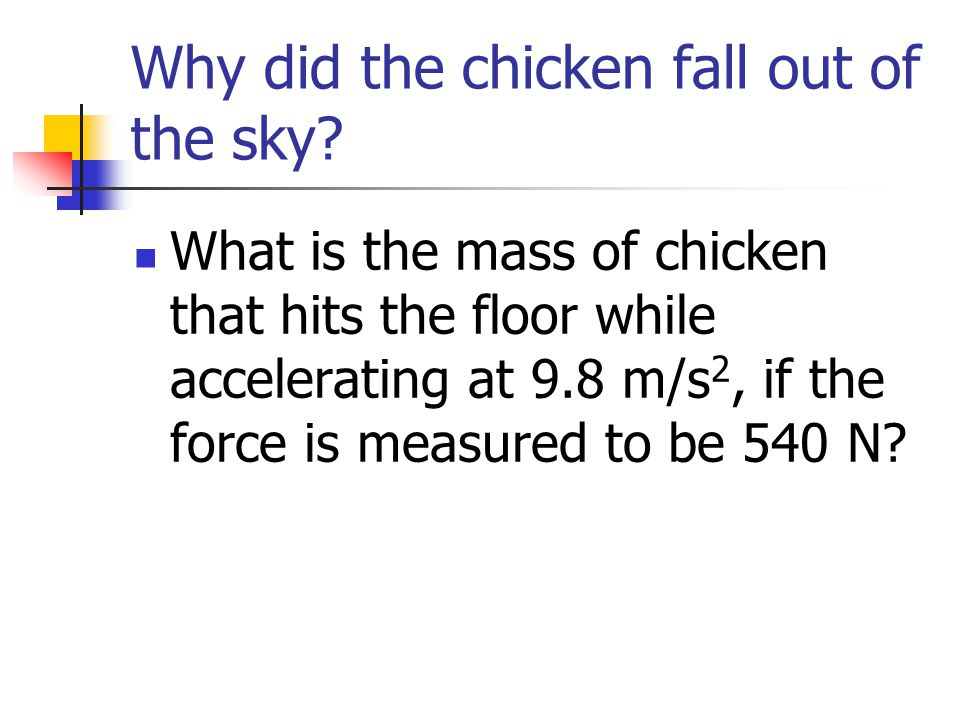 Why did the chicken fall out of the sky
