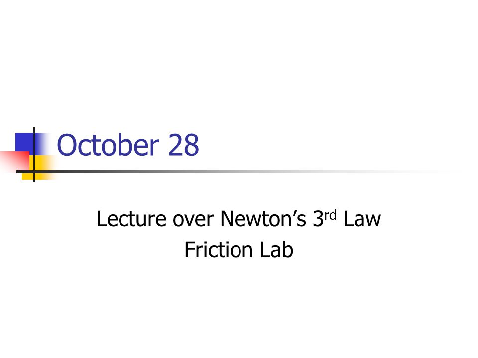 Lecture over Newton's 3rd Law Friction Lab