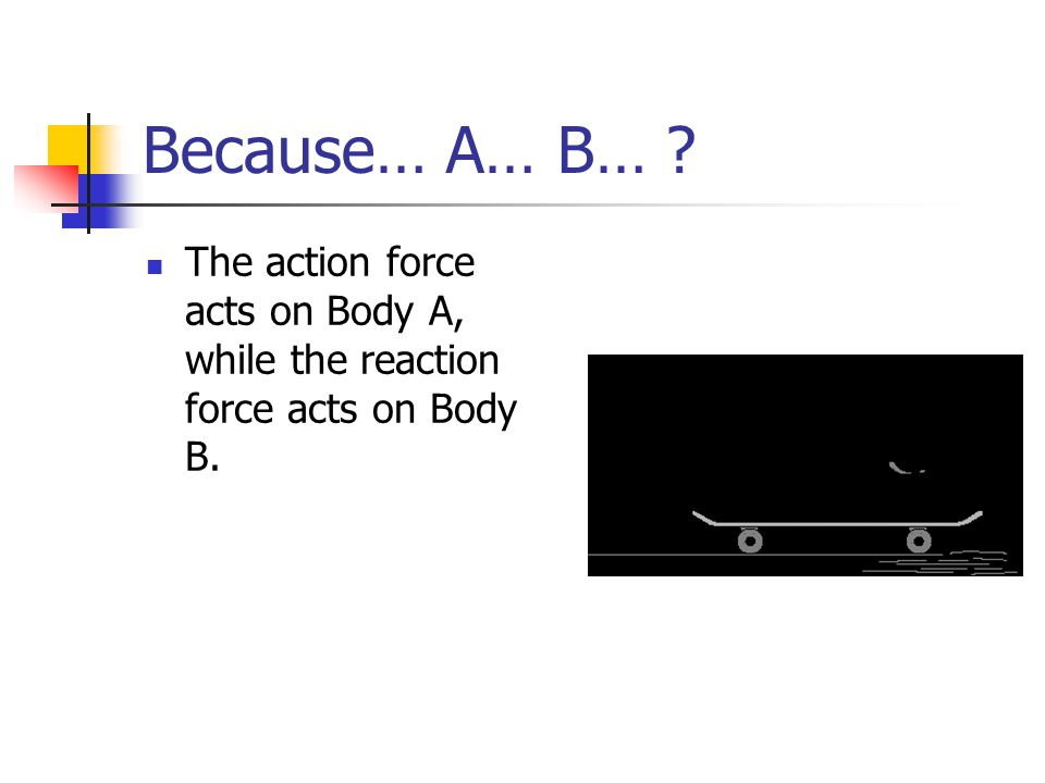 Because… A… B… The action force acts on Body A, while the reaction force acts on Body B.