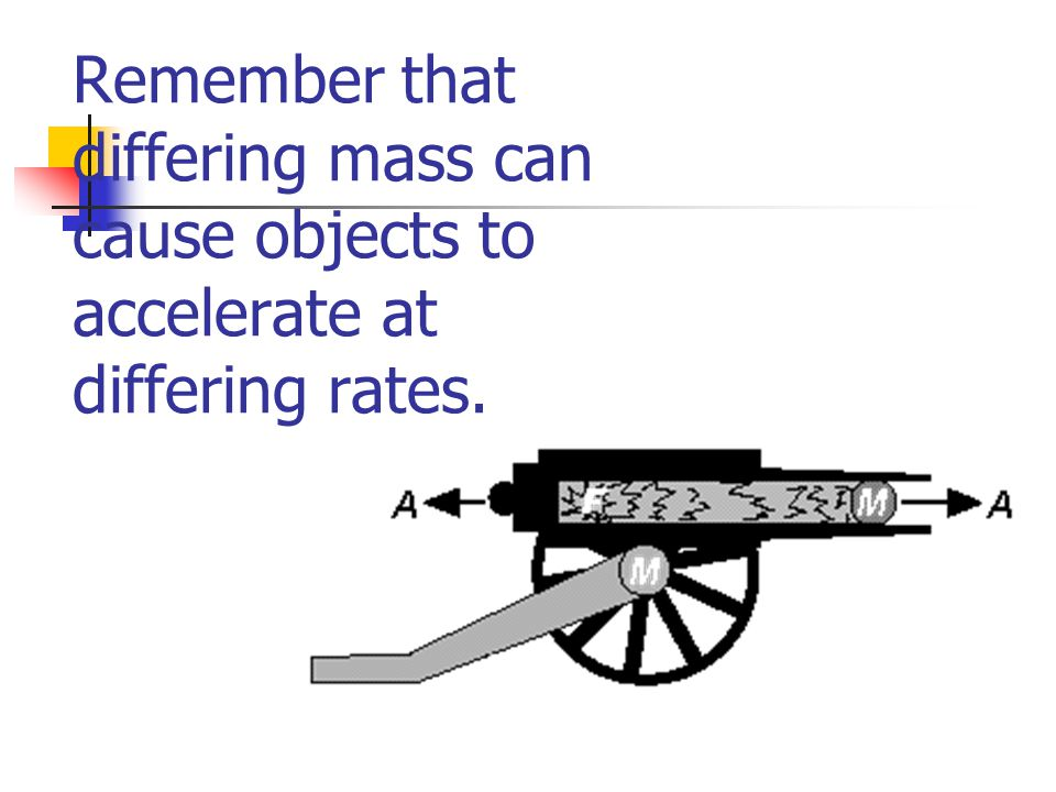Remember that differing mass can cause objects to accelerate at differing rates.