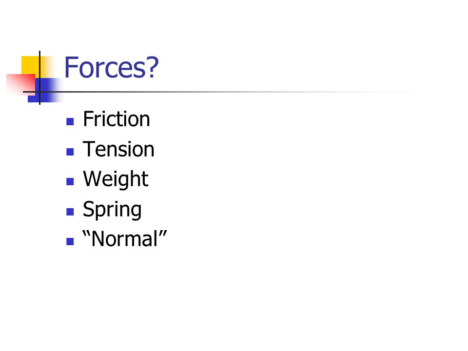 Forces Friction Tension Weight Spring Normal