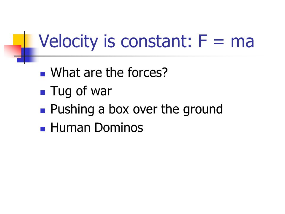 Velocity is constant: F = ma