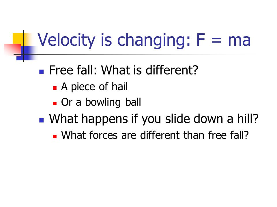 Velocity is changing: F = ma