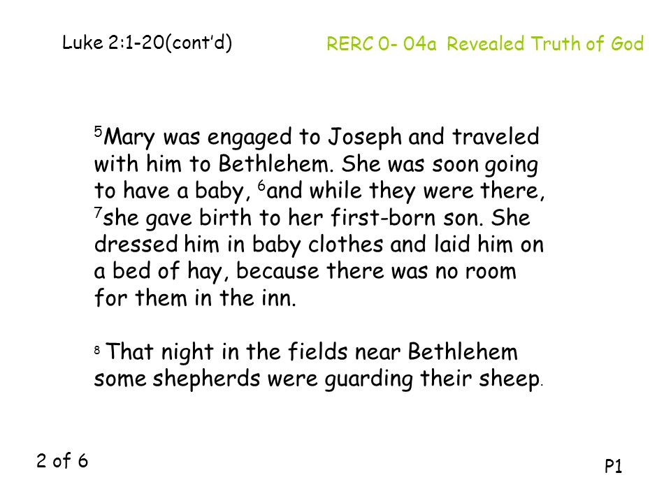 Luke 2:1-20(cont'd) RERC 0- 04a Revealed Truth of God.