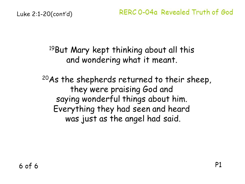 19But Mary kept thinking about all this and wondering what it meant.