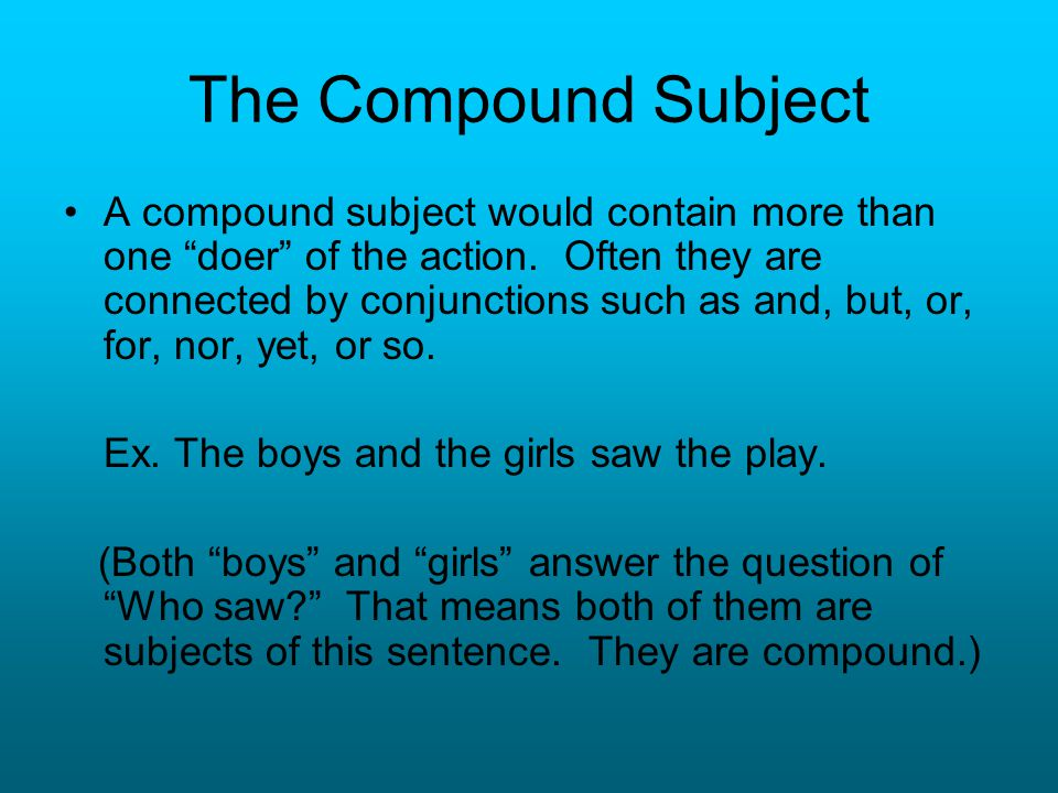 The Compound Subject