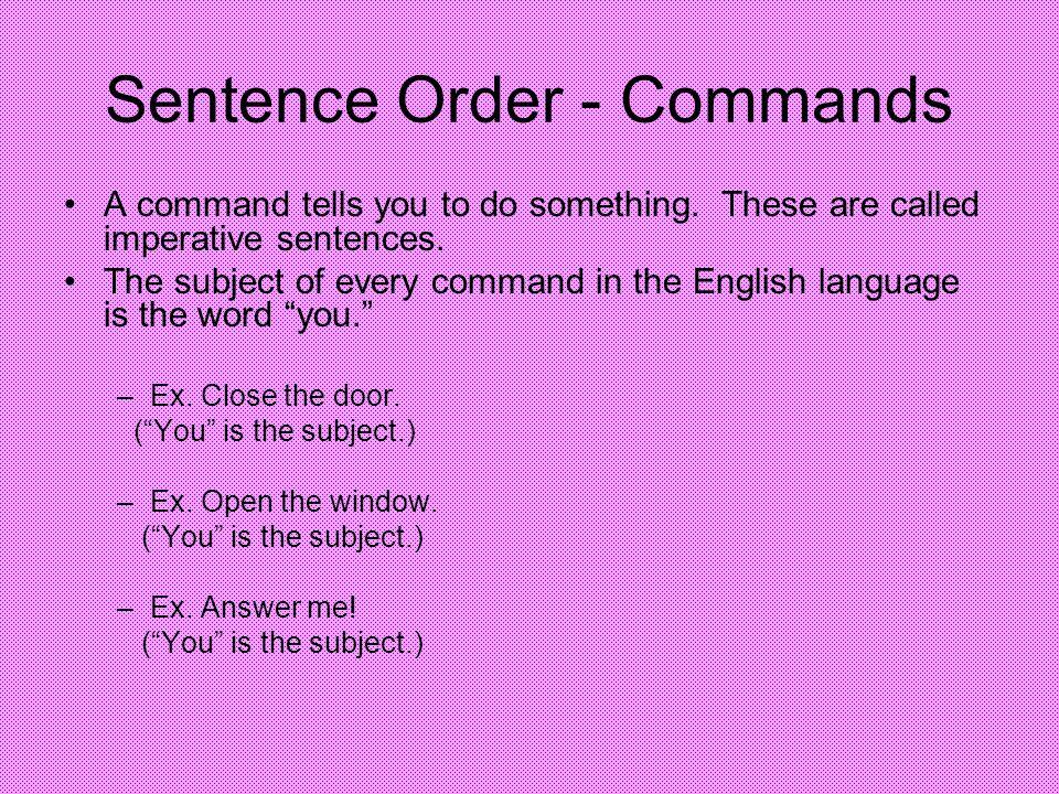 Sentence Order - Commands