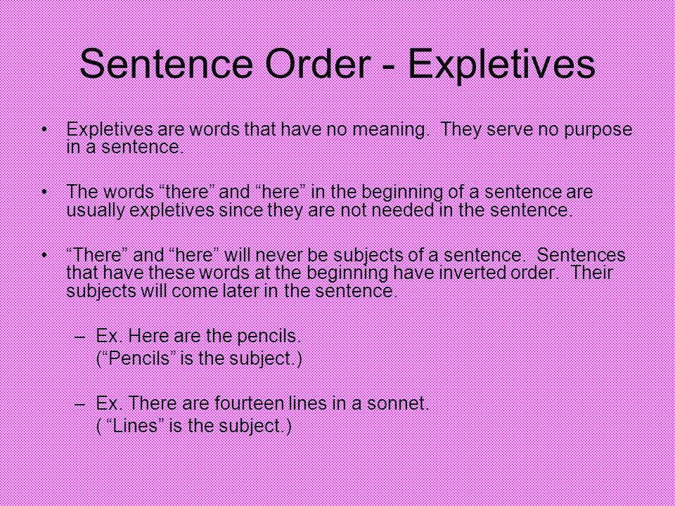 Sentence Order - Expletives