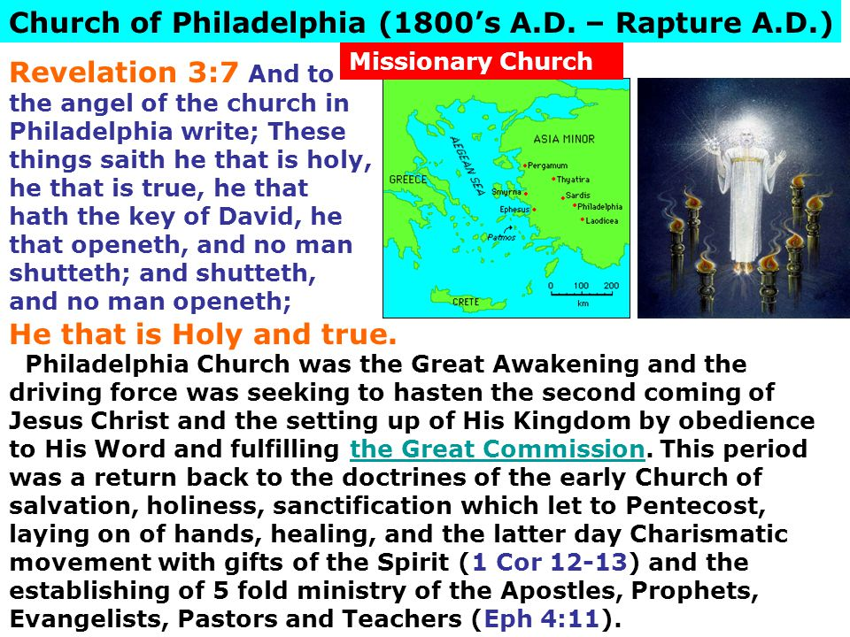 Church of Philadelphia (1800's A.D. – Rapture A.D.)
