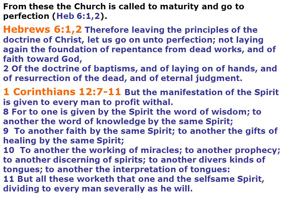 From these the Church is called to maturity and go to perfection (Heb 6:1,2).