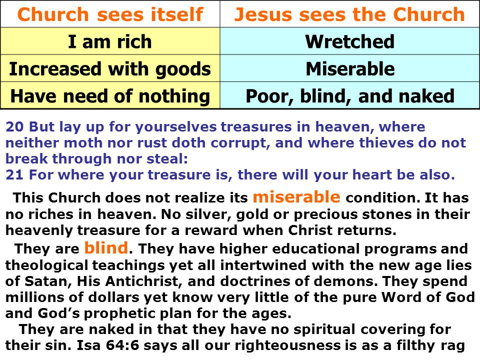 Church sees itself Jesus sees the Church I am rich Wretched