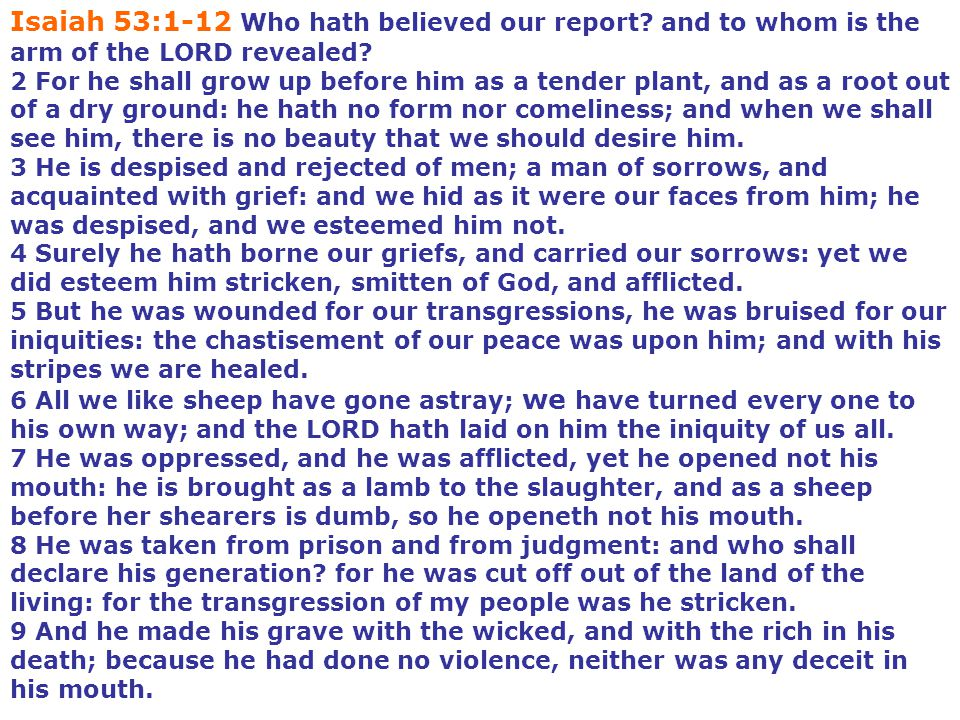 Isaiah 53:1-12 Who hath believed our report