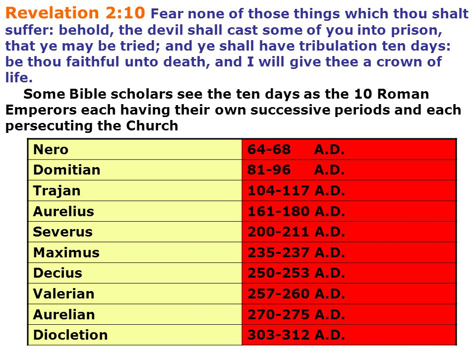 Revelation 2:10 Fear none of those things which thou shalt suffer: behold, the devil shall cast some of you into prison, that ye may be tried; and ye shall have tribulation ten days: be thou faithful unto death, and I will give thee a crown of life.