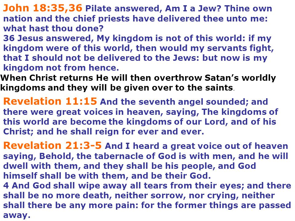 John 18:35,36 Pilate answered, Am I a Jew