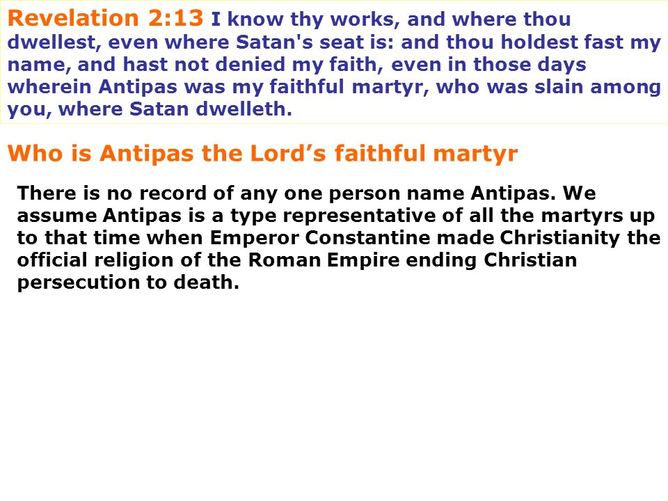 Who is Antipas the Lord's faithful martyr
