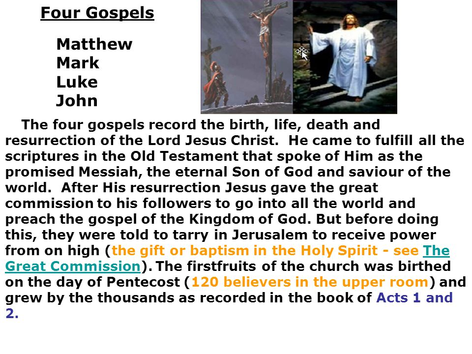 Four Gospels Matthew Mark Luke John