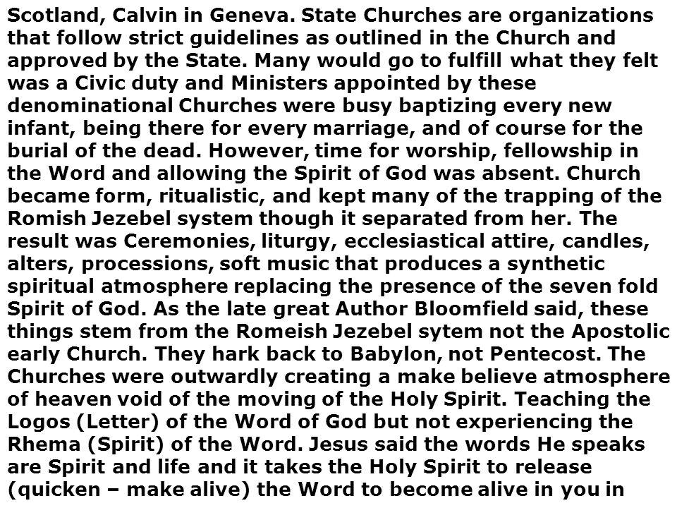 Scotland, Calvin in Geneva