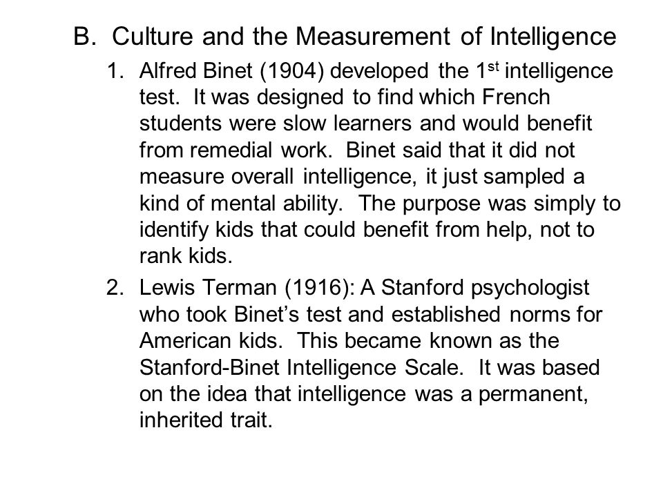 Culture and the Measurement of Intelligence