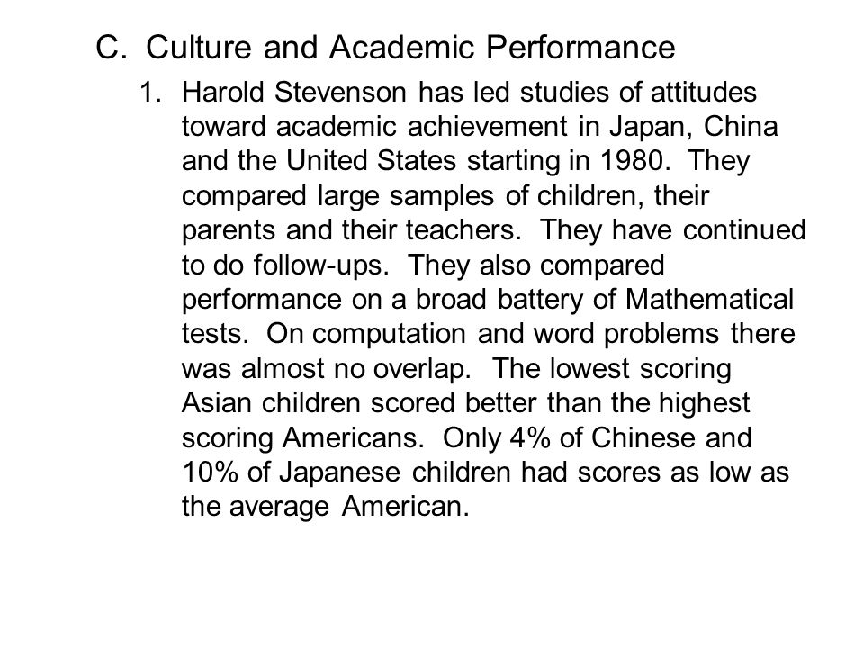Culture and Academic Performance