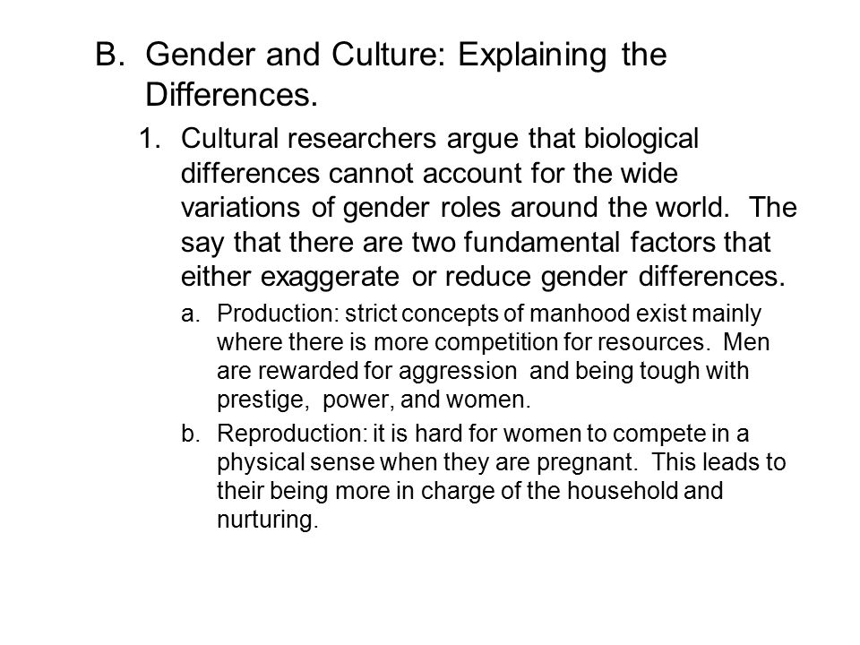 Gender and Culture: Explaining the Differences.