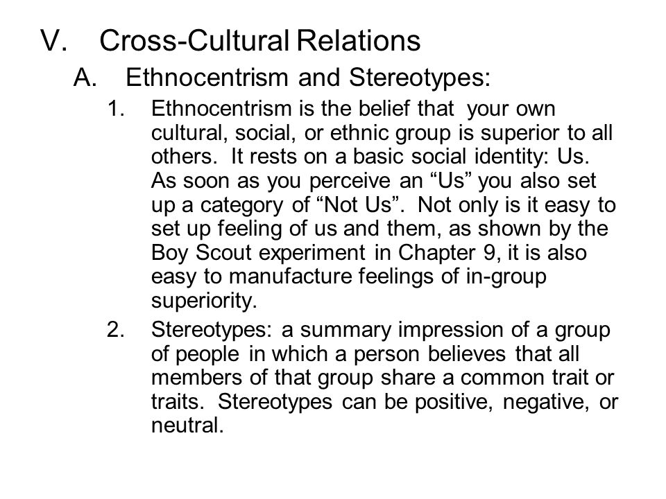 Cross-Cultural Relations