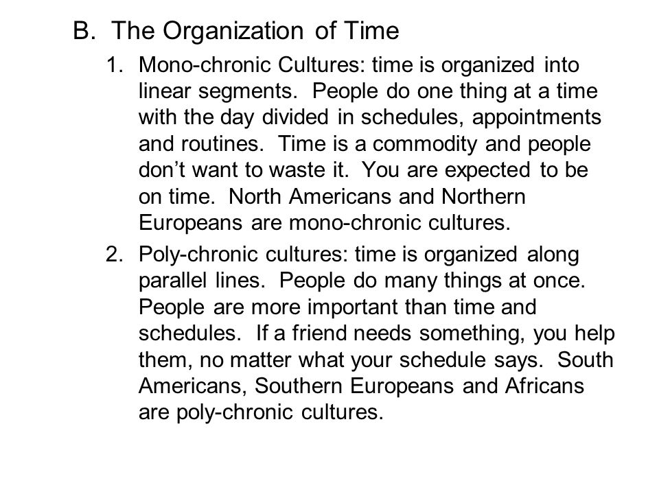 The Organization of Time