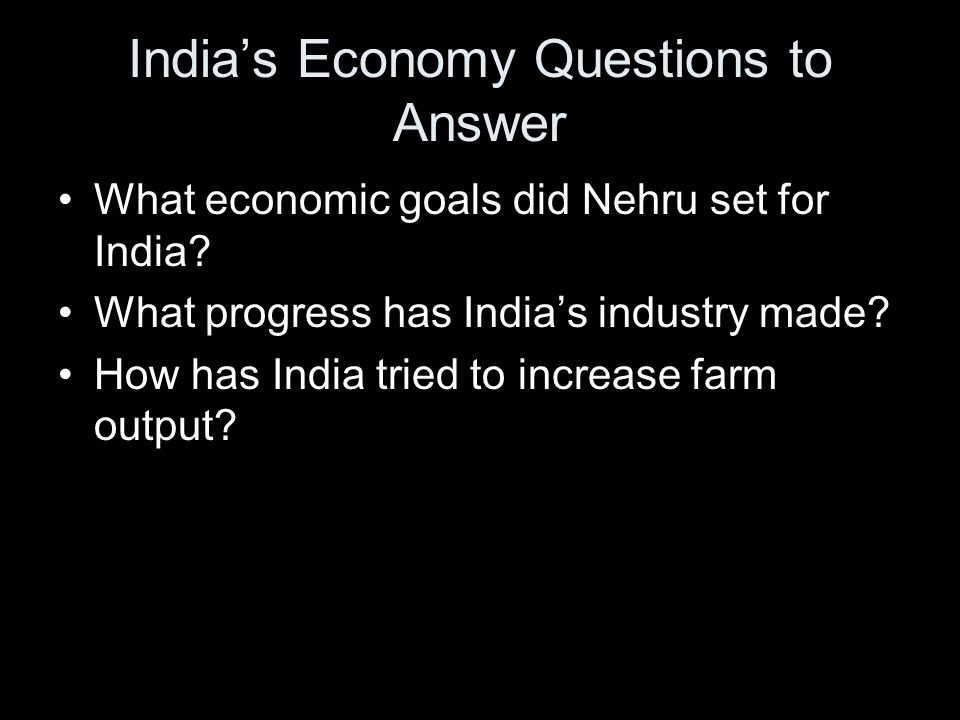 India's Economy Questions to Answer