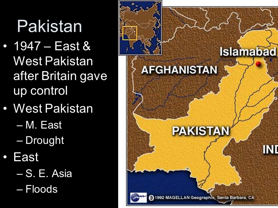 Pakistan 1947 – East & West Pakistan after Britain gave up control