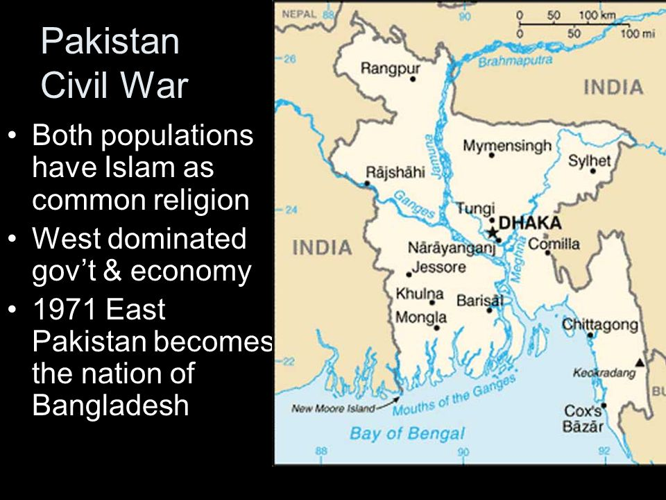 Pakistan Civil War Both populations have Islam as common religion