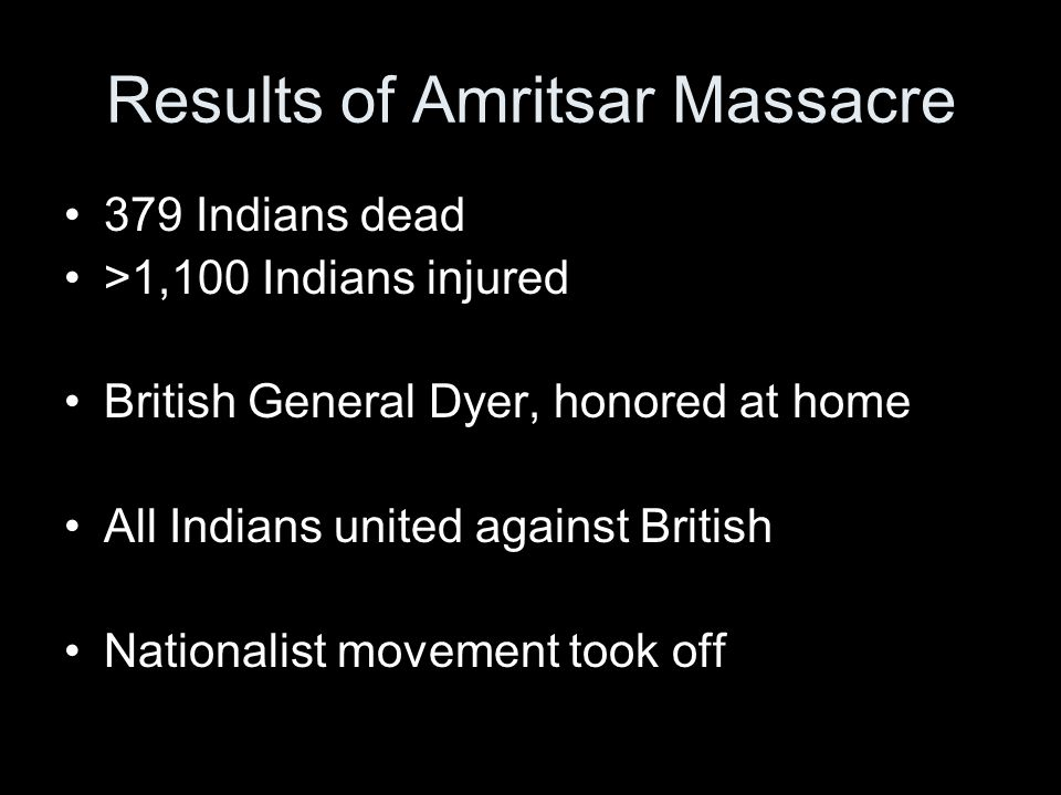 Results of Amritsar Massacre