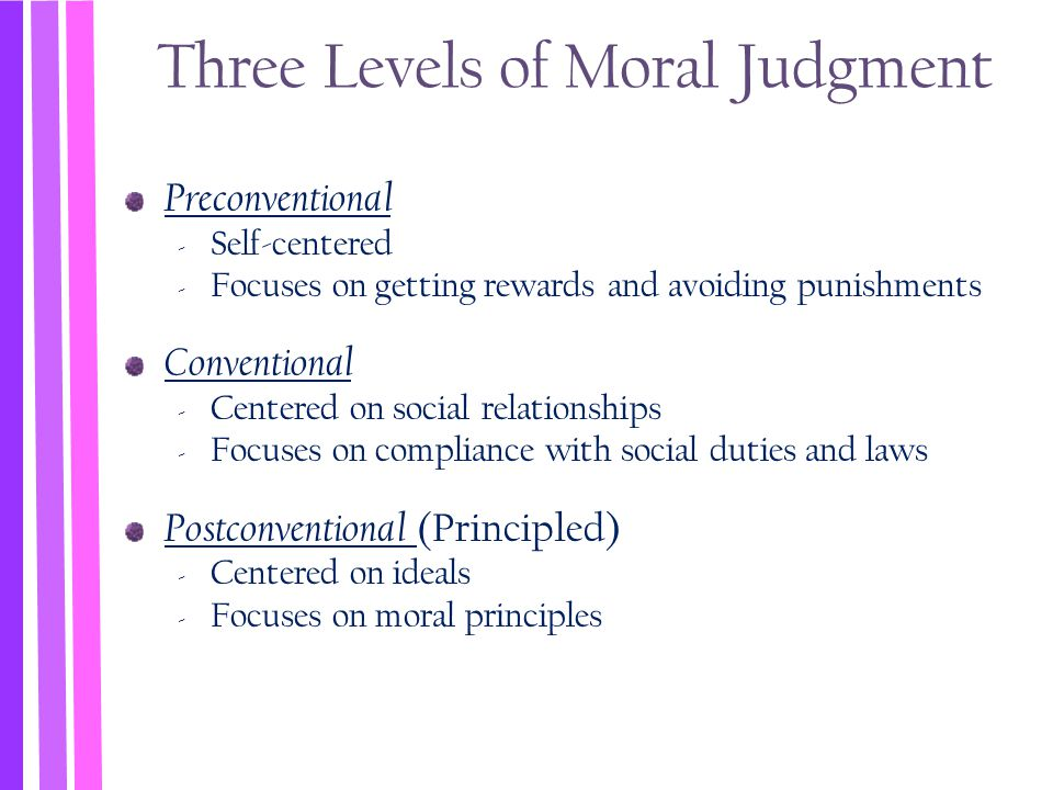 Three Levels of Moral Judgment