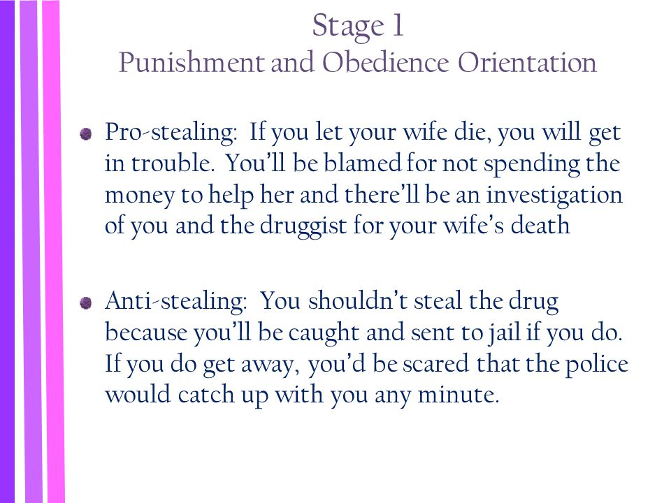 Stage 1 Punishment and Obedience Orientation
