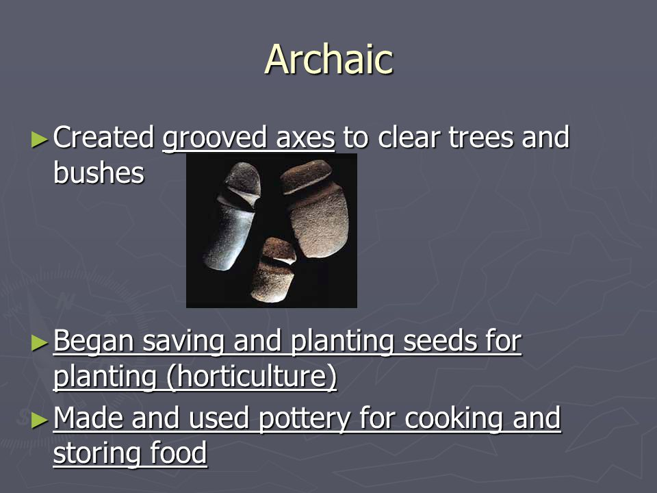 Archaic Created grooved axes to clear trees and bushes