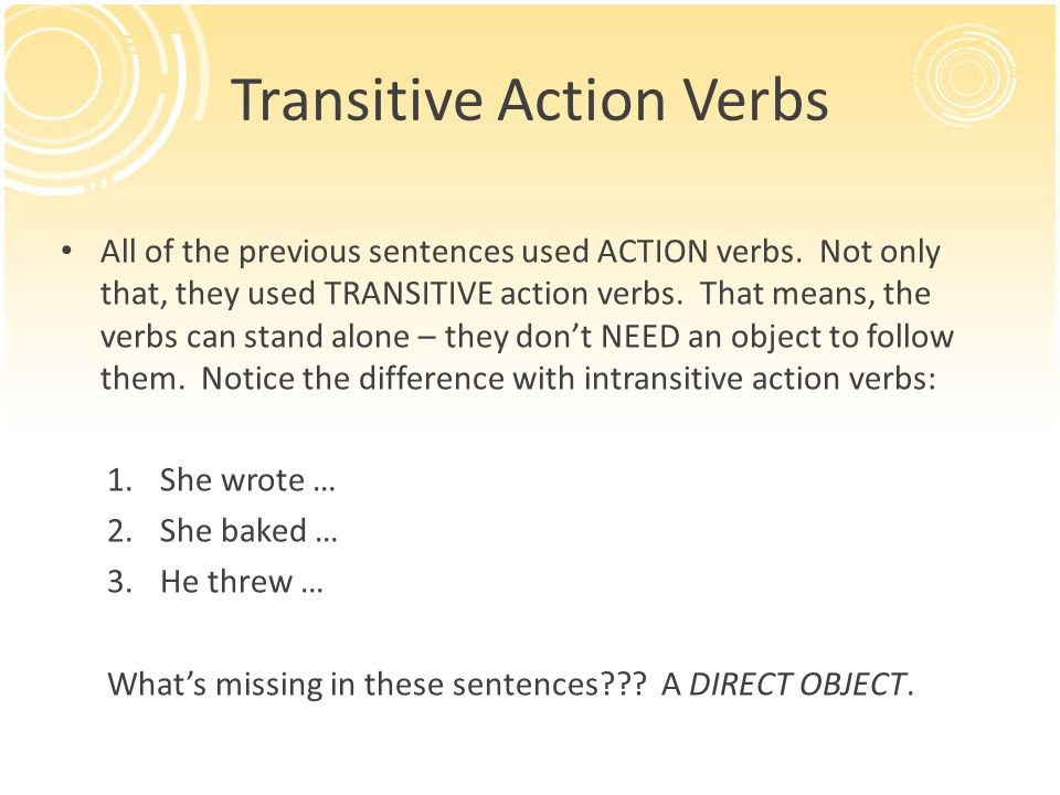 Transitive Action Verbs