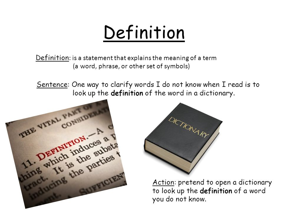 Definition Definition: is a statement that explains the meaning of a term. (a word, phrase, or other set of symbols)