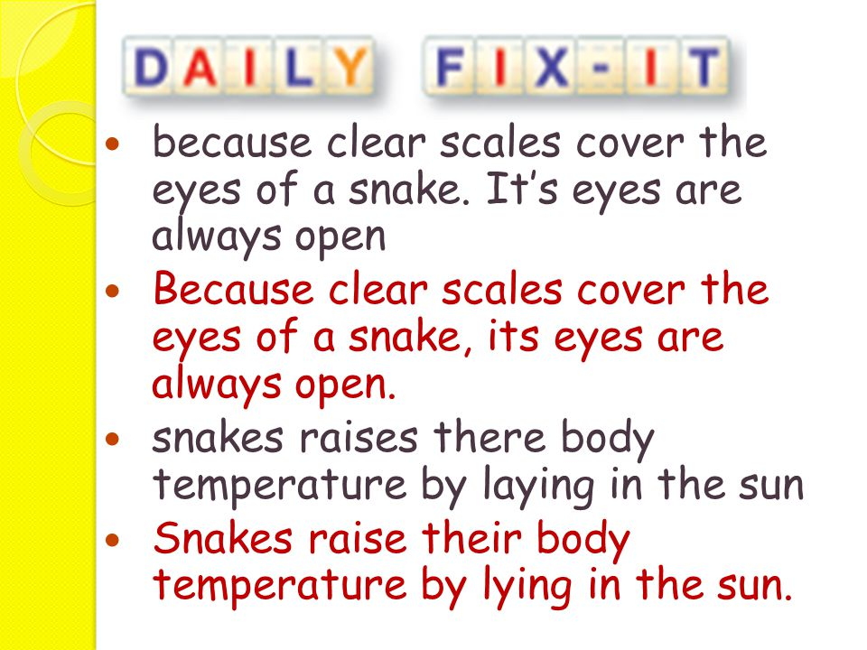 because clear scales cover the eyes of a snake