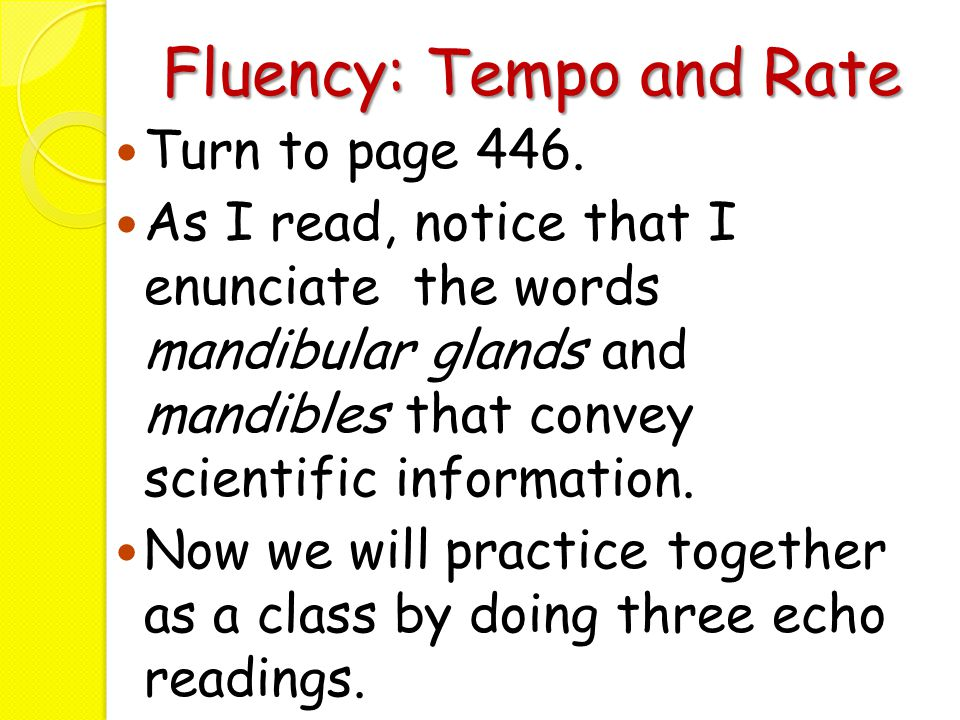 Fluency: Tempo and Rate