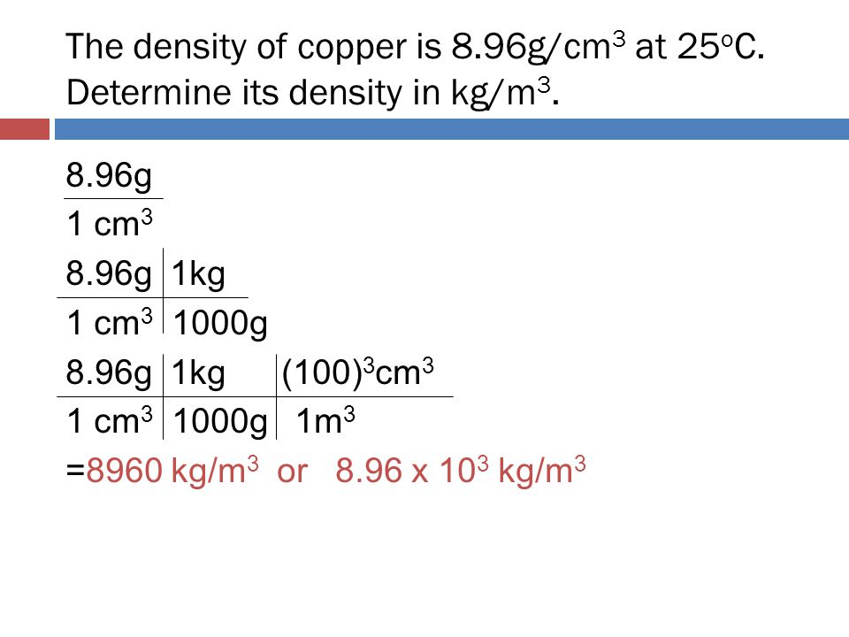 The density of copper is 8. 96g/cm3 at 25oC