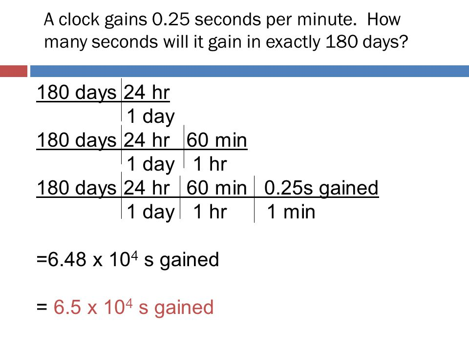 A clock gains 0. 25 seconds per minute