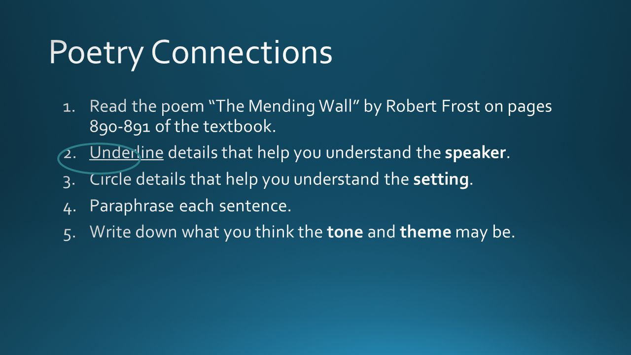 Poetry Connections Read the poem The Mending Wall by Robert Frost on pages 890-891 of the textbook.