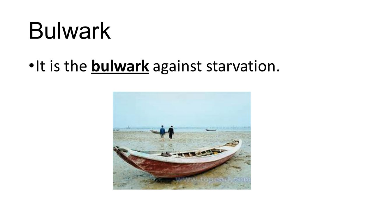 Bulwark It is the bulwark against starvation.