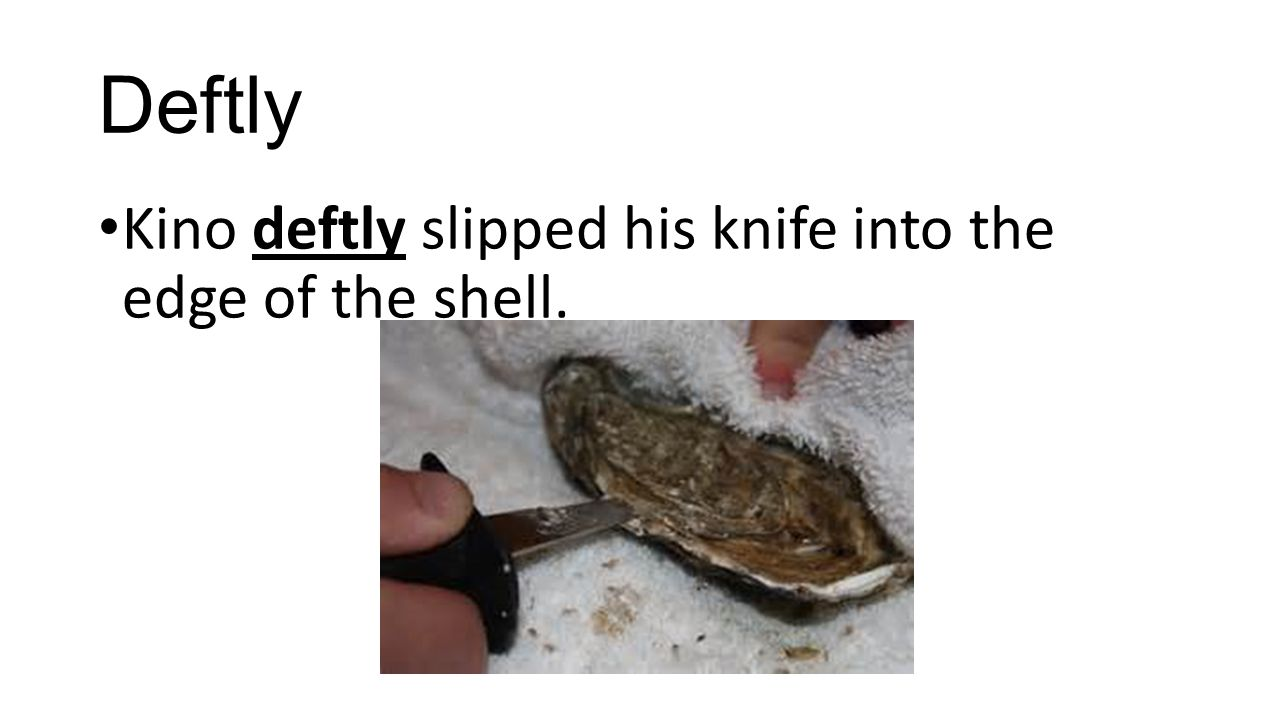 Deftly Kino deftly slipped his knife into the edge of the shell.